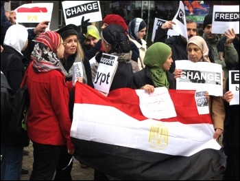 Egyptians in Newcastle demonstrate in support of the Egyptian revolution, photo Newcastle Socialist Party