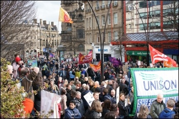 5000 people protested in Sheffield outside the Liberal Democrats' spring conference, photo Jack Jones