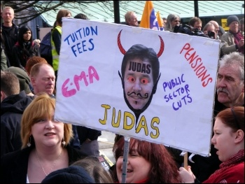 5000 people protested in Sheffield outside the Liberal Democrats' spring conference, photo Robbie Faulds