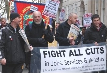 Labour councillors' conference lobbied by hundreds of angry trade unionists, photo Suzanne Beishon