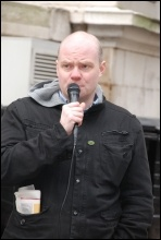 Steve Hedley, RMT, speaking to NSSN Labour councillors' conference lobby of hundreds of angry trade unionists, photo Suzanne Beishon
