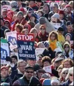 Protest in Madison, Wisconsin, USA, draws 150,000 to 200,000