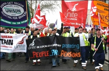 Demonstration in Southampton by Unite and Unison against Tory attacks on terms and conditions and cuts in public services. Around 1000 workers took part , photo David Smith