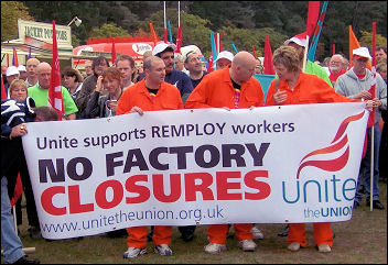 Remploy workers rally against closure threat in 2007, photo Bob Severn