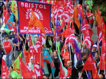 Unite trade union demonstration outside Labour Party conference 2007, photo Bob Severn