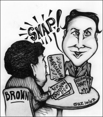 "Gordon Brown and David Cameron play ""Snap"", cartoon by Suz"