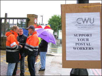 CWU picket line in East London, photo Naomi Byron