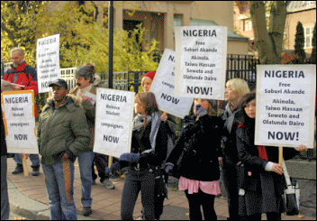 Protest at the Swedish Nigerian embassy