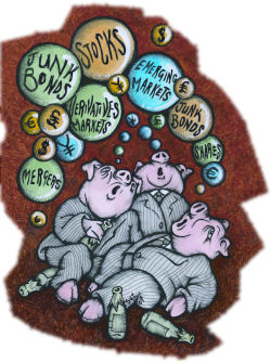 The feast is over, but the pigs are still at the trough. Cartoon by Suz. From Socialism Today, May 2007