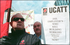 Ucatt members demonstrate against deaths on building sites