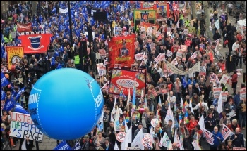 Half-million strong TUC demo, central London, 26 March 2011, against the government's cuts, photo Senan