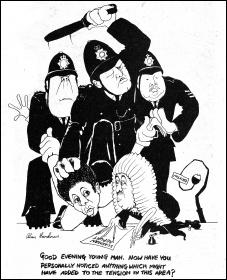 Brixton Riots and the Scarman report - Alan Hardman cartoon