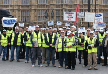 200 Visteon pensioners demonstrated outside parliament on Tuesday 29 March as Ford executives met MPs , photo Mike Gard