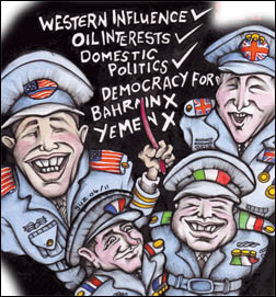 Socialism Today May 2011, Behind Nato's Libya campaign, cartoon by Suz