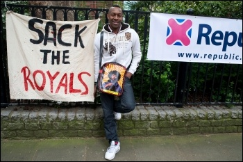 An anti-Monarchyprotesters at the last royal wedding in 2011, photo Paul Mattsson