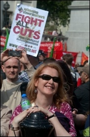 National Shop Stewards Network (NSSN) on the May Day 2011 in central London, photo Paul Mattsson