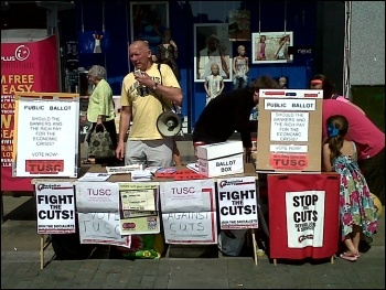 Campaigning for TUSC in Swansea, photo Socialist Party Wales