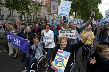 Hardest Hit protest: Disabled people and their families protest in central London  in May 2011 against government spending cuts, photo Paul Mattsson