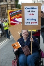 Hardest Hit protest:, May 2011, disabled people and their families protest in central London against government spending cuts, photo Paul Mattsson