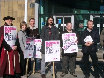 UCU pickets at Bradford University during the last strike, photo Iain Dalton