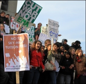 Students protest against tuition fees and the abolition of EMA, photo Senan