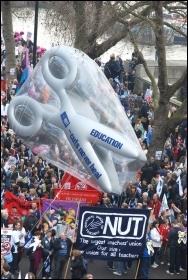 Members of the teachers' union NUT on the 26 March TUC demonstration, photo Suzanne Beishon
