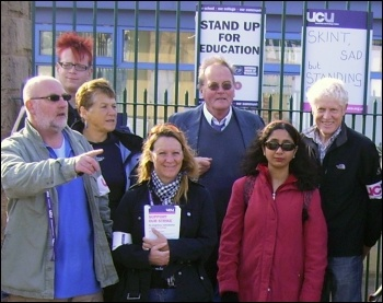UCU lecturers on a three day strike to stop redundancies at Sheffield College  , photo A Tice