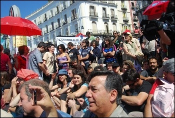 Madrid: Spain's town squares filled with tens of thousands of indignados (angry people), photo Sarah Wrack