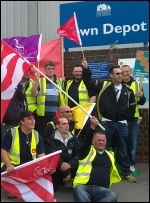 Southampton refuse workers in Unite on strike, 23.5.11 , photo Southampton Socialist Party