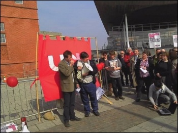 Guy Stoate (L) addresses a UCU Cymru rally in defence of pensions in Cardiff Bay on 24.511., photo Edmund Schluessel