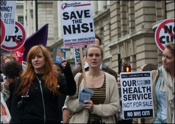 Marching against NHS cuts and privatisation, photo Paul Mattsson