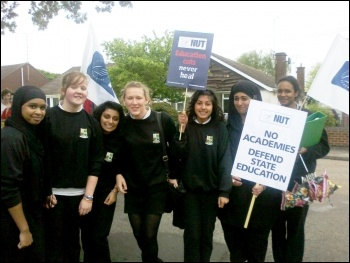 School students and teachers protest against academies at Tile Hill Wood school in Coventry, photo Coventry Socialist Party