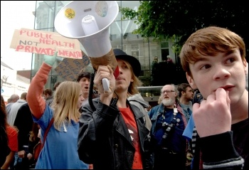 UK Uncut protest against banks and to save the NHS in Cardiff, photo Socialist Party Wales