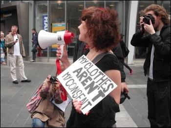 Socialist Party members on a 'Slutwalk' protest in Newcastle, photo E Brunskill