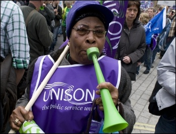 Unison members on the half-million strong TUC demo, central London, 26 March 2011, against the government's cuts , photo Paul Mattsson