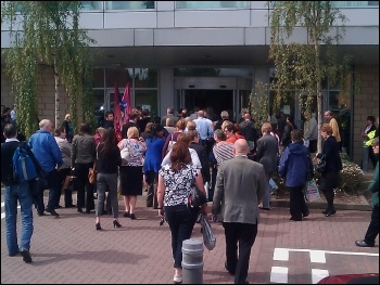 HMRC Sherbourne House, Coventry, PCS members walk in together, 8.6.11