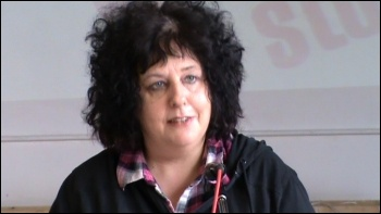 Janice Godrich, president, PCS, photo Socialist Party