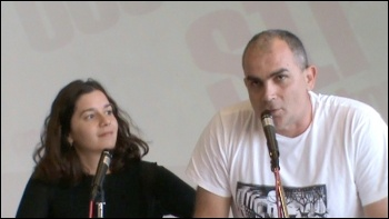 Apostolis Kasimeris of the Union of Public Transport Workers in Attica, Greece, speaking at NSSN conference, photo SP