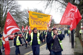 Demonstration in Southampton by Unite and Unison against Tory attacks on terms and conditions and cuts in public services, photo by Dave Smith
