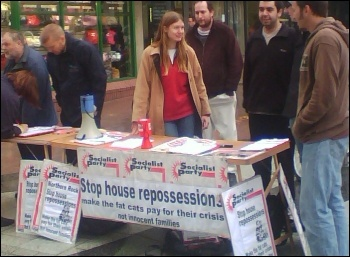 Housing campaign: Cardiff Socialist Party campaigning to stop house repossessions, photo SP Wales