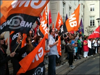 Over 200 council workers staged a noisy and colourful protest outside Waltham Forest town hall against cuts, photo Senan