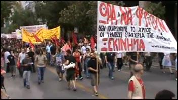 Xekinhma, Greek section of CWI, on massive general strike in Greece on 15 June 2011, photo Stephan Kimmerle