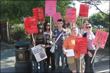 Teachers on a picket line in Waltham Forest, east London. photo Senan