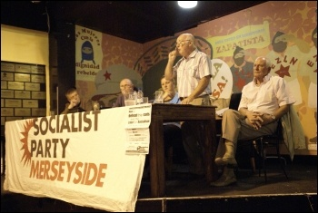 Peter Taaffe speaking at the Merseyside Socialist Party meeting, 5.7.11, photo Harry Smith