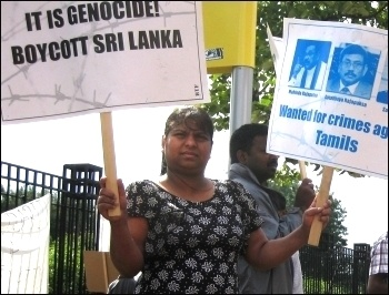 Tamil Solidarity (TS) organised a protest in front of Lancashire County Cricket Club when Sri Lanka played England on 9th July against the genocide of Tamils, photo by Hugh Caffrey