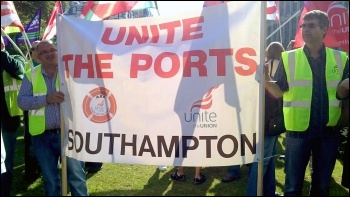 Southampton Port Workers join protest of council workers facing the sack