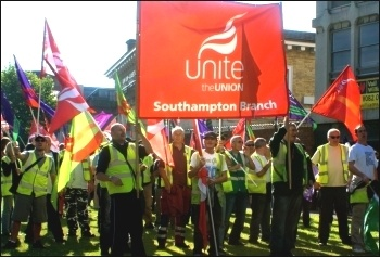 Demo in Southampton City Centre by striking Unite and Unison workers, including refuse, toll bridge and port health authority workers, amongst others, photo Andrew Howe
