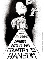 Cartoon attacking press bias against striking workers from the 1970s by Alan Hardman