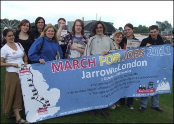 Support for Jarrow March at the Durham Miners' Gala, photo Northern Region SP