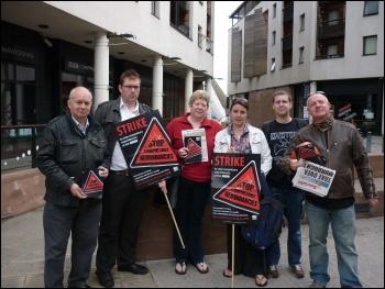 NUJ strikers in Coventry, national BBC strike against redundancies, 15.7.11